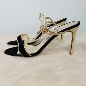 Manolo Blahnik Black & Gold heels